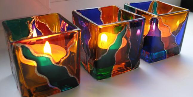 Мастер класс по росписи стекла (подсвечник) и изготовлению декоративной свечи!