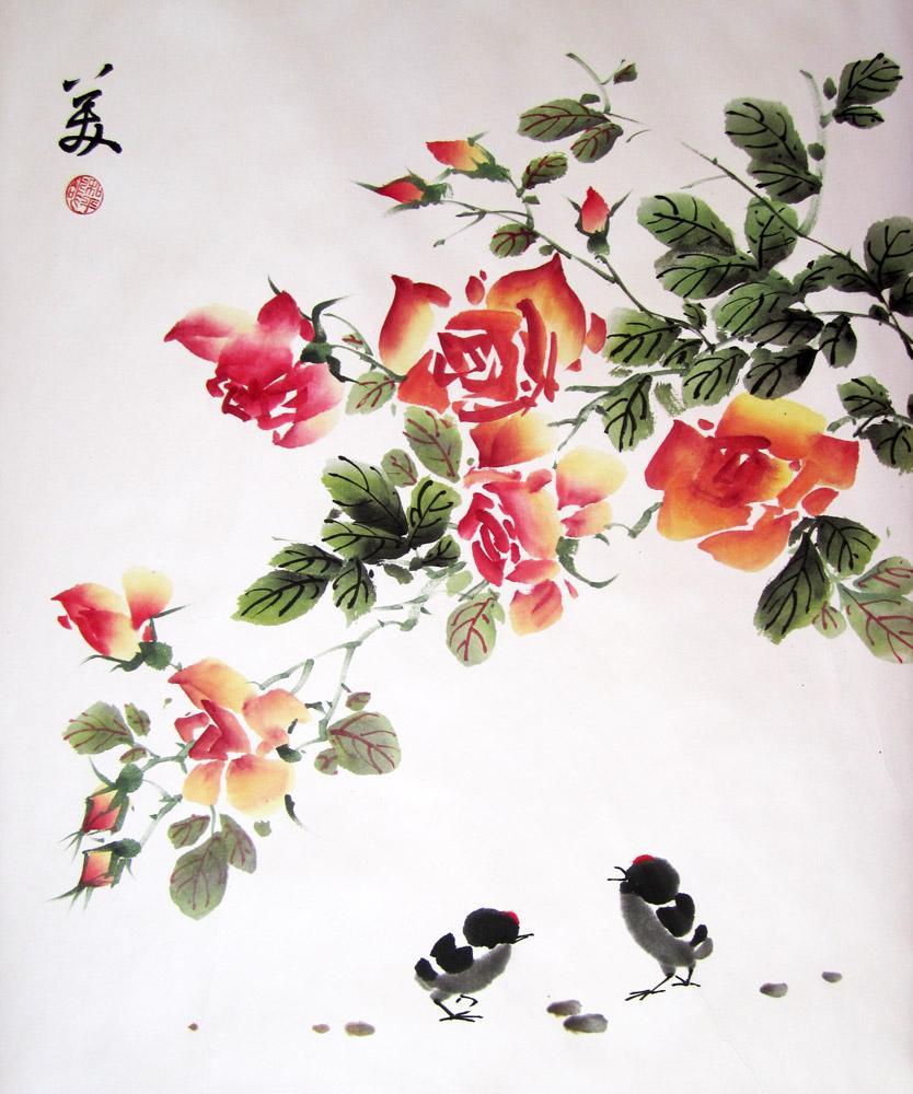 Мастер класс по восточной живописи и каллиграфии «Птенцы и Розы».