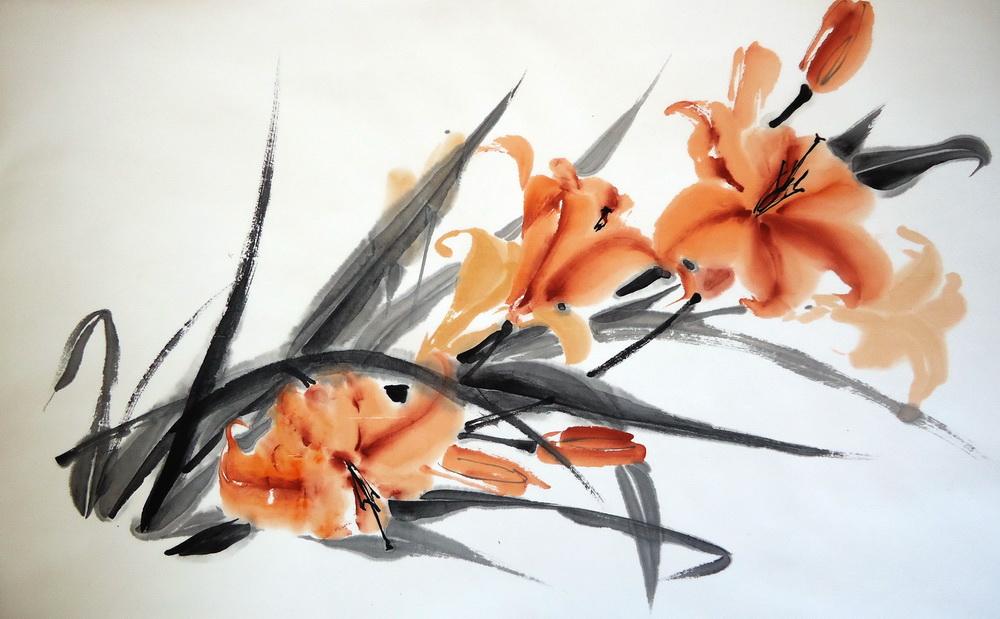 Мастер класс по восточной живописи и каллиграфии «Лилии»