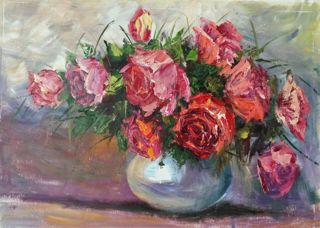 Мастер класс по живописи маслом «Розы мастихином».
