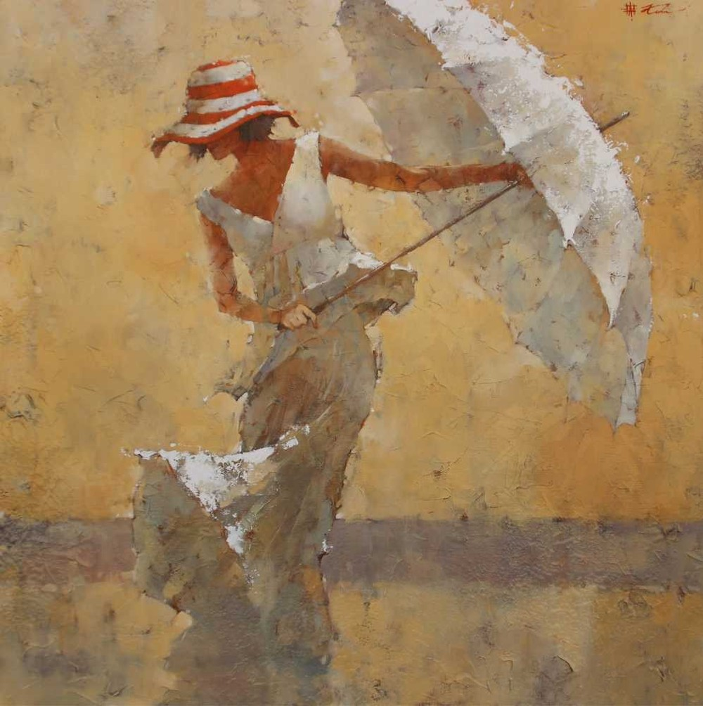мастер класс по живописи маслом «Дама с зонтом»