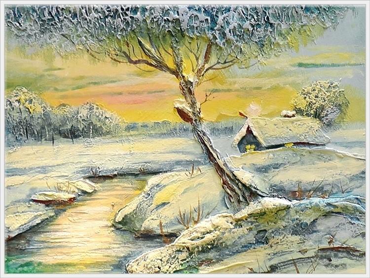Мастер класс по объемной живописи «Зимний пейзаж».