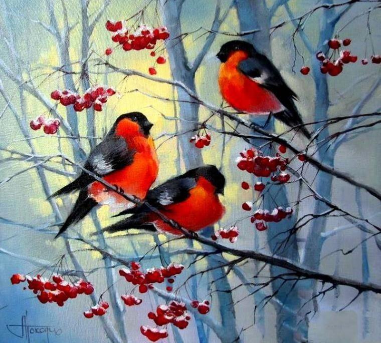 Мастер класс по живописи маслом «Снегири»