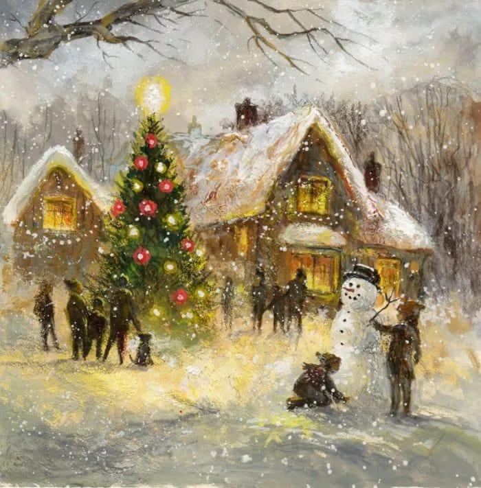 Мастер класс по картине акрилом «Новогодние каникулы»